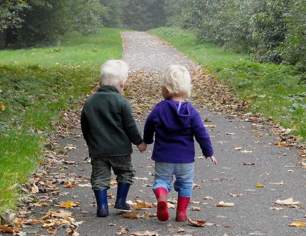 Vriendschap: Twins walking together