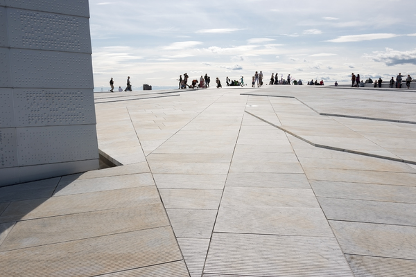 Modern architecture: Part of the enormous roof of the new Opera House in Oslo, Norway. Photography at this site was freely permitted.