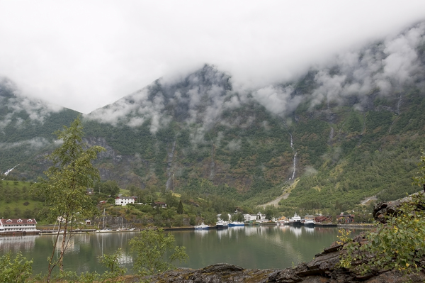 Moody harbour: A harbour in a fjord in Norway with very low cloud early in the morning.