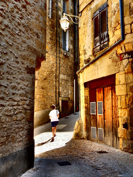 Boy in Sarlat: A Boy in the streets of Sarlat, Périgord, France