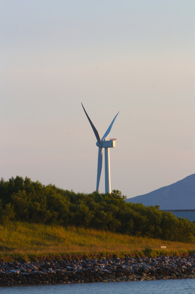 Wind turbine at sunset: Wind turbine at sunset (Clyde Coast, Scotland, near Hunterston)