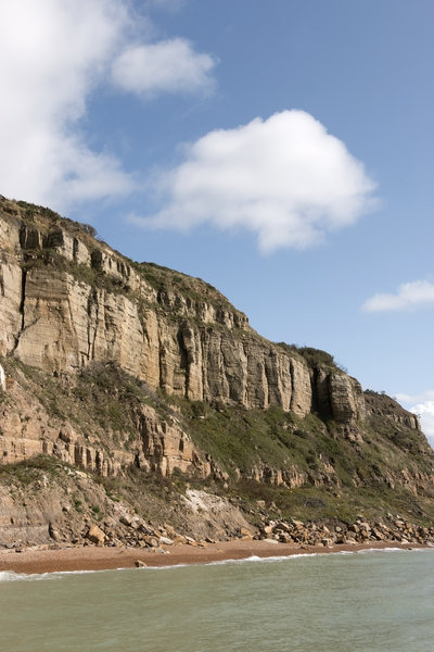 Cliff coastline: Cliffs near Hastings, East Sussex, England.