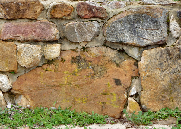 retaining rock wall2: rough rural historic cemented retaining stone wall