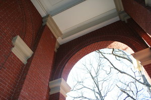 Brick hallway college campus: Building on the campus of Queens University, Charlotte, NC.