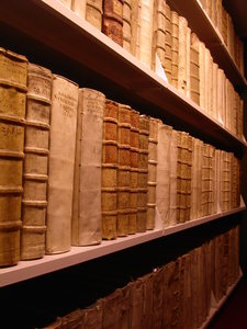 books in a shelf 2: famous libary in wolfenbuettel, germany, with the most expensive book of the world (9 million euros)