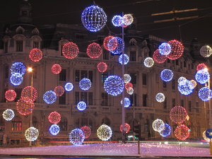 Christmas light: Bucharest December night in the street - University square