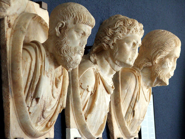 Three busts: Three bust of men, antique, from Aphrodisias, Turkey