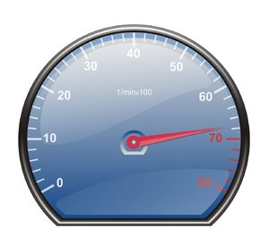 tachometer: vector image of tachometr with blue disc and red indicator