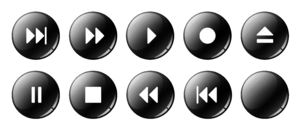 Player Buttons: Web Player Buttons in 5 color versions