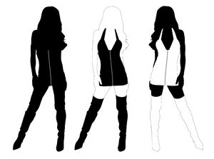 Silhouette Pose: The same girl i three versions