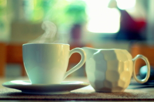 coffee: A cup of hot coffee.