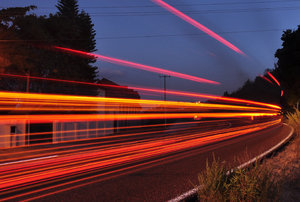 Road light streaks: Light streaks from a bus at rural road