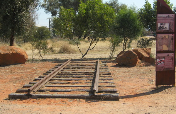 Old Track Section: A section of the original Adelaide to Alice Springs rail line at Alice Springs rail yards.