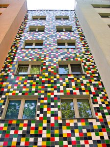 colourful squared facade: colourful squared facade