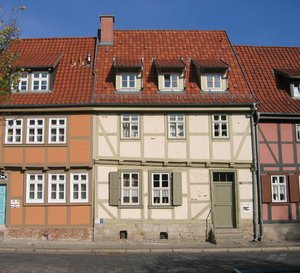 old half-timbered buildings: This photo was shot in Quedlinburg, Germany. There are lots more of these houses in this city.