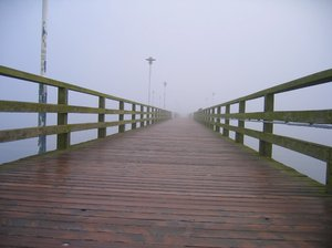 pier in morning mist: pier in morning mist
