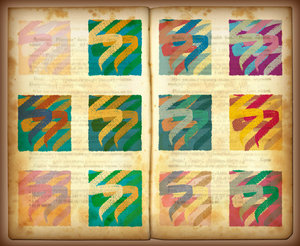 Color Stamps: Colorful stamps on pages of  old book.Please visit my stockxpert gallery:http://www.stockxpert.com ..