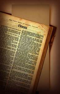 Genesis: The book of Genesis from a vintage Bible.