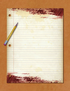 Pencil and Paper: A grungy sheet of notebook paper and a pencil.