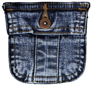 Jeans Pocket: An isolated denim pocket.