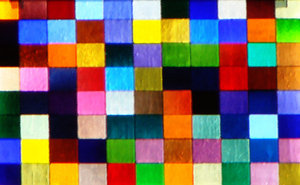 Crazy Quilt: An abstract painting with blocks of colour like a vintage quilt.
