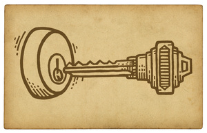 illustration card: A vintage card with a drawing of a key.