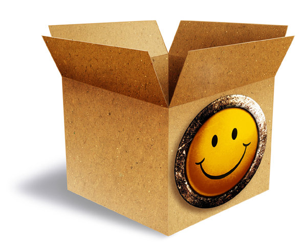 Smiley Box: A vintage box with a grungy smile button.Please visit my stockxpert gallery:http://www.stockxpert.com ..