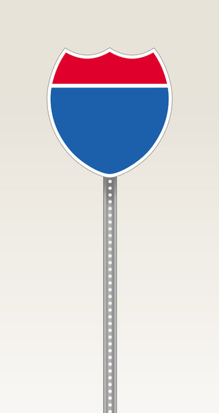 Interstate Sign: Illustration of a blank interstate highway sign.