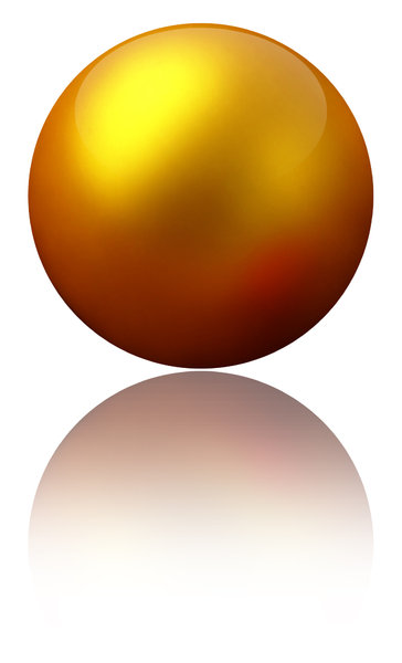 Gold Ball: A gold ball with a reflection.