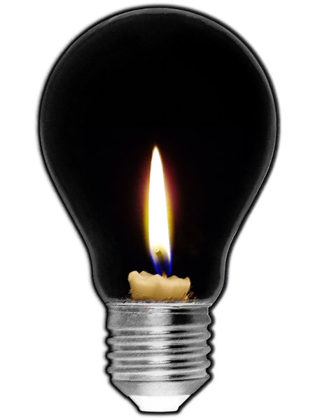 idea: illustration of a candle in a light bulb.
