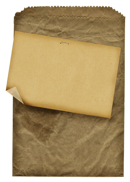 Papier Bag: A vintage papier bagwith a note attached.