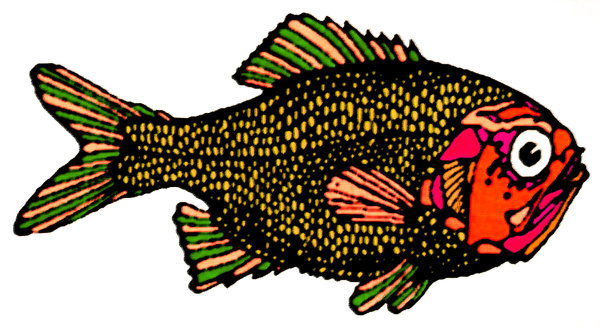 Pastel Fish 1: Variations on an abstract fish.