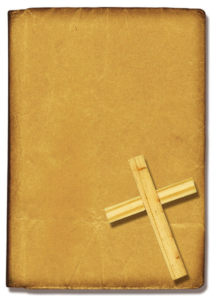 Bible Cover: A paper Bible coverwith a Christian cross.