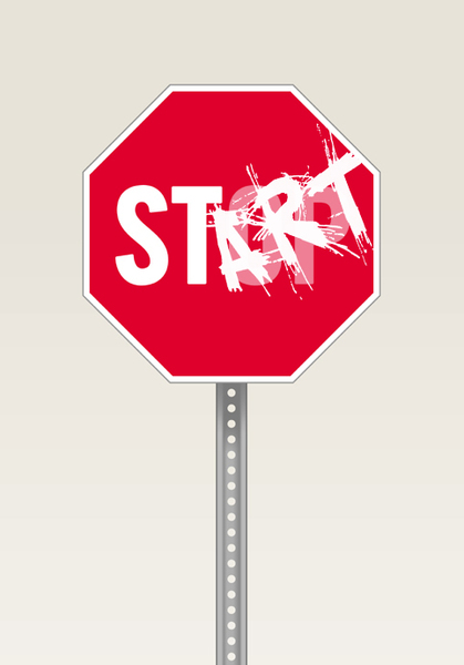Start Sign: A vandalised stop sign. Visit me at Dreamstime: 