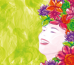 Sensetastic: Illustration. Womans hair are covered with flowers.