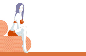 Woman swimmer on a couch: Colour variation of my former uploaded illustration.