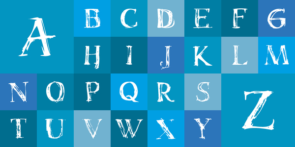 Free grunge alphabet on blue: handpainted, scanned, vectorized. If you need a vector version just drop me a line.