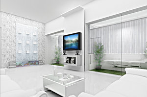 Living Room Concept 3D: Conceptual 3D visualization for a living room. The concept is totally white and glass and steel.