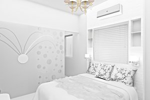 Bedroom Concept design: View of bedroom with walkin wardrobe