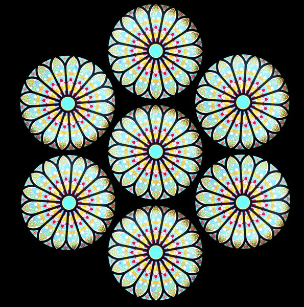 Rose Window:       A rose window with concentric designs