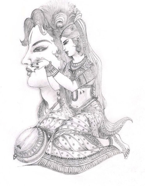 Sketch: Sketch of a classical indian character. Meerabai the female devotee of Lord Krishna.