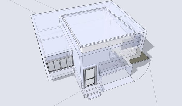 Building 3D and wireframe 1: Model of a small building