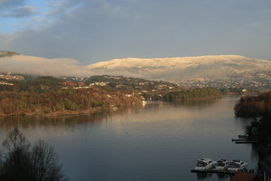 view from my window: view from my window - Bergen, Norway, mount Ulriken with a mast