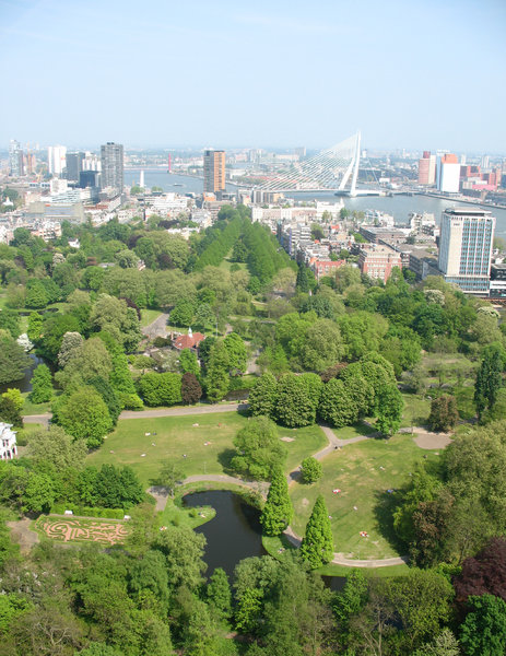 A view on the city of Rotterda: A skyhigh overview on a sunny day in Rotterdam. Pictures taken from the Euromast, about 100 mtrs. high.Feel free to use them, but I would very much like to know if you do. Thanks!