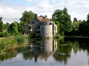 scotney castle: medievil castle with mote situated in rural kentish landscape