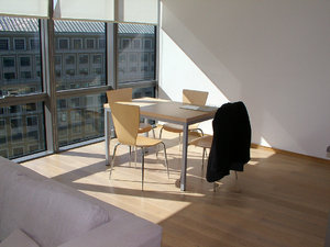 the london office: the inside of a  london docklands office with a very simple layout