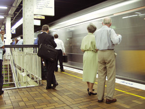 Commuter train: passenger Train at underground station in Sydney, Australia