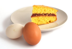 Cake & Eggs: Piece of cake and two eggs