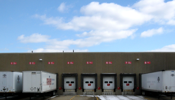 Store Loading Dock: Loading area for big truck trailers at a large store