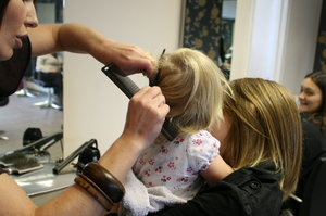first cut: my granddaughter freya gets her hair cut for the first time, awww, we kept the curls, again awwwww